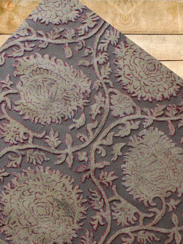 Carpetmantra Grey Floral Carpet 6ft X 9ft