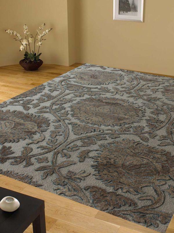 Carpetmantra Beige Floral Carpet 5.2ft X 7.3ft