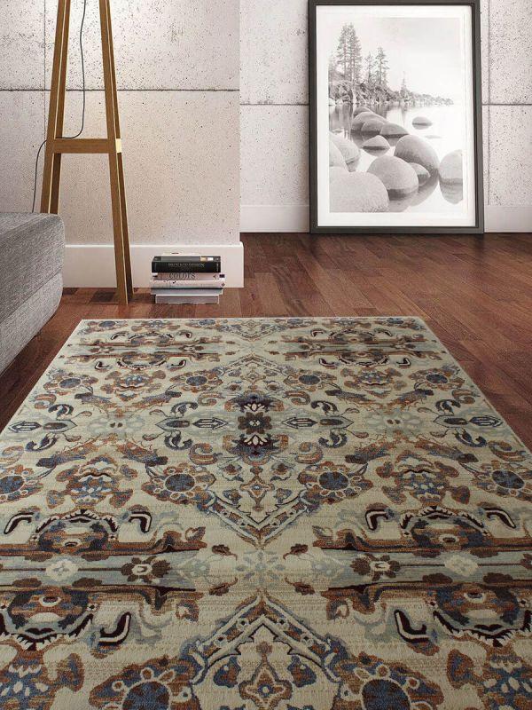 Carpetmantra Transitional Multi Floral Carpet 5.3ft X 7.7ft