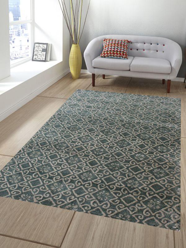 Carpet Mantra Green Modern Carpet 5.6ft X 8.6ft
