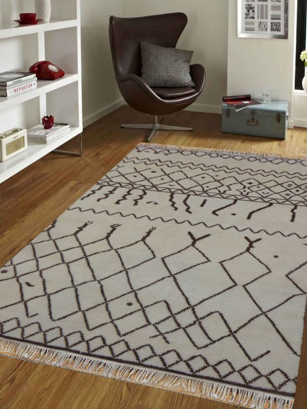 Hand Knotted Moroccan Beige Carpet 5.7ft X 7.10ft