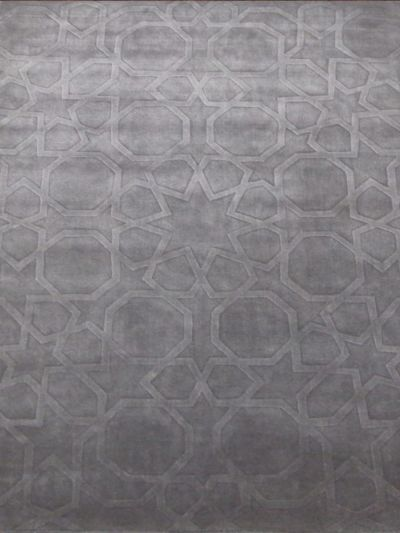 Carpetmantra Silver Grey VISCOSE Carpet 5.7 X 7.10