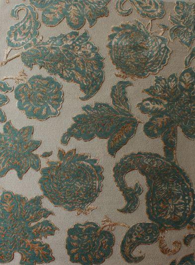 Carpetmantra Green Floral Carpet 6ft X 9ft