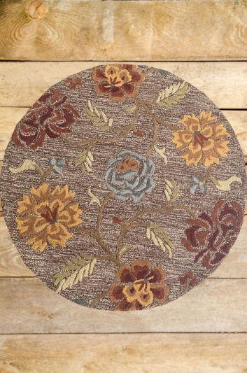Carpetmantra Brown Floral Carpet 4ft Round