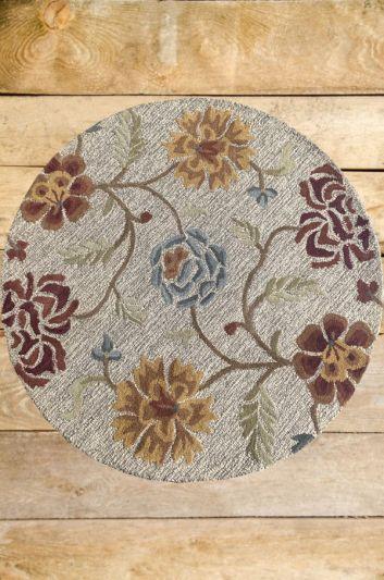 Carpetmantra Beige Floral Carpet 4ft Round