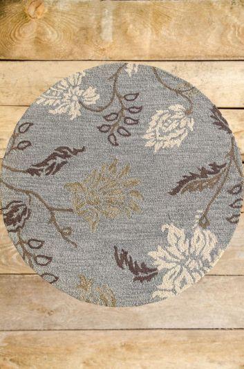 Carpetmantra Grey Floral Carpet 4ft Round