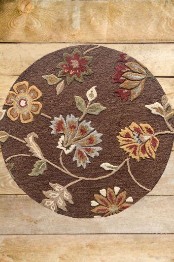 Carpetmantra Chocolate Floral Carpet 4ft Round