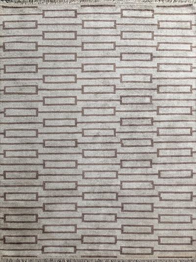 Carpetmantra Handknotted Bamboo Silk Beige Carpet 5.7ft X 7.10ft