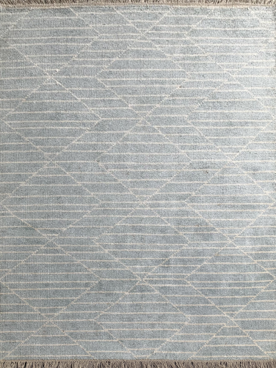 Carpetmantra Handknotted Bamboo Silk Turquoise Carpet 5.7ft X 7.10ft