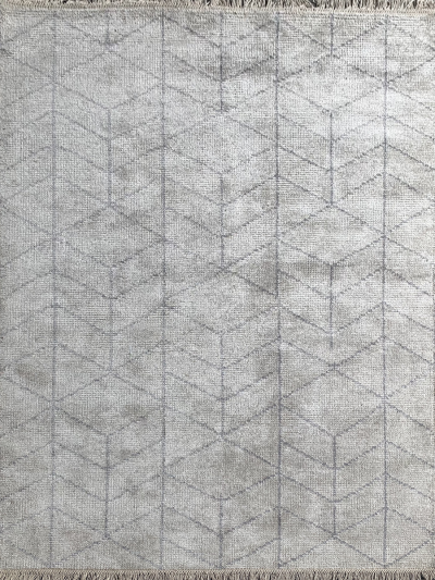 Carpetmantra Handknotted Bamboo Silk Silver Carpet 5.7ft X 7.10ft