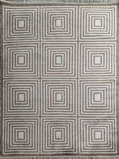 Carpetmantra Handknotted Bamboo Silk Beige Brown Carpet 5.7ft X 7.10ft