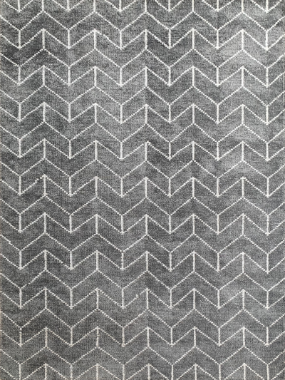 Carpetmantra Handknotted Bamboo Silk Grey Carpet 5.3ft X 7.7ft