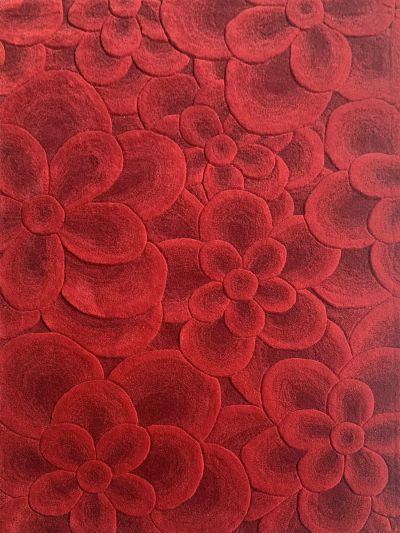 Carpetmantra Red Floral Carpet 4.0ft X 6.0ft