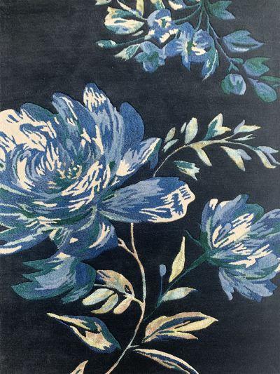 Carpetmantra Black Floral Carpet 4.0ft X 6.0ft