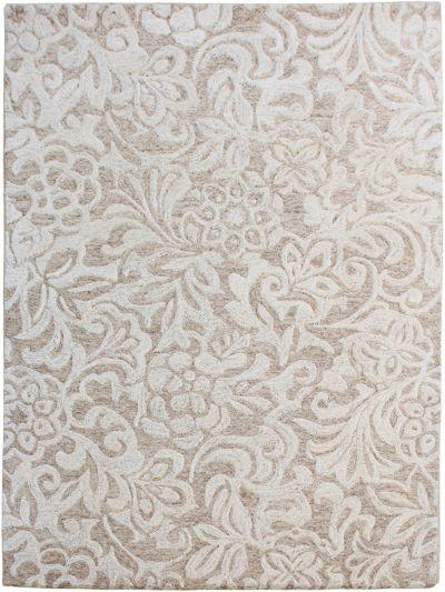Carpetmantra Beige floral Carpet 4.0ft X 5.6ft