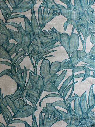 Carpetmantra  Turquoise viscose carpet  5.1ft x 7.4ft