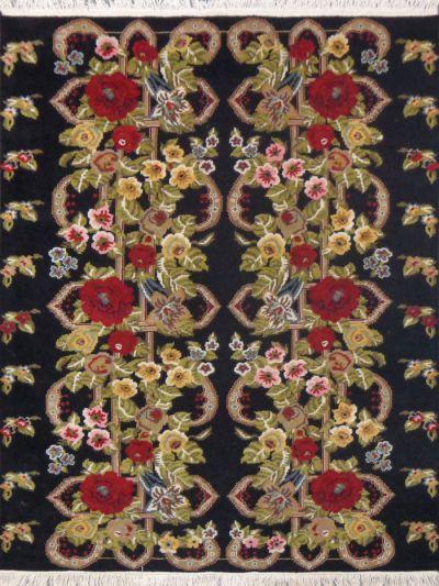 Carpetmantra Hand knotted black  Floral Carpet