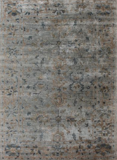 Carpetmantra Hand knotted Bamboo Silk Designer Grey Carpet 5.7ftx7.10ft