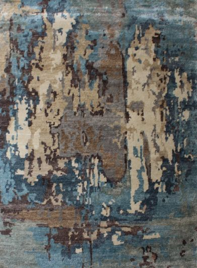 Carpetmantra Hand knotted Bamboo Silk Designer Turquoise Carpet 6.0ft x 9.0ft