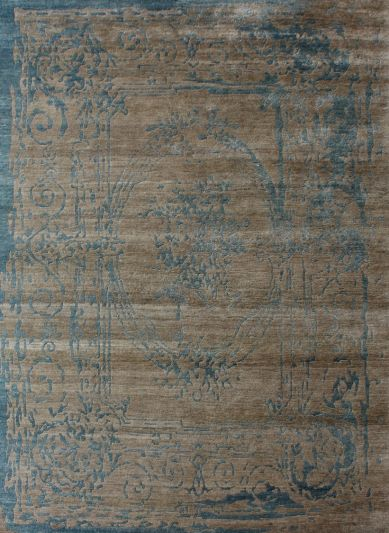 Carpetmantra Hand knotted Bamboo Silk Beige Designer Carpet 5.7ftx8.1ft