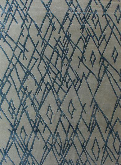Carpetmantra Hand knotted Designer Silver Grey Blue Carpet 6ftx9ft