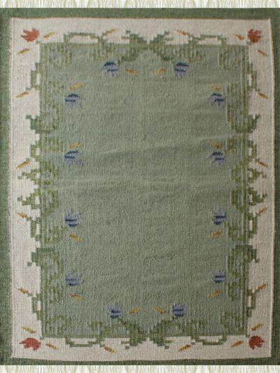 Carpetmantra Flatweave Durrie Green Carpet 4ft X 6ft