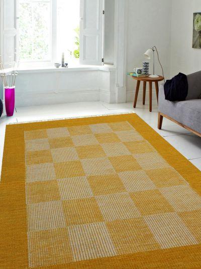 Carpetmantra Flatweave Durrie Yellow Carpet 4ft X 6ft