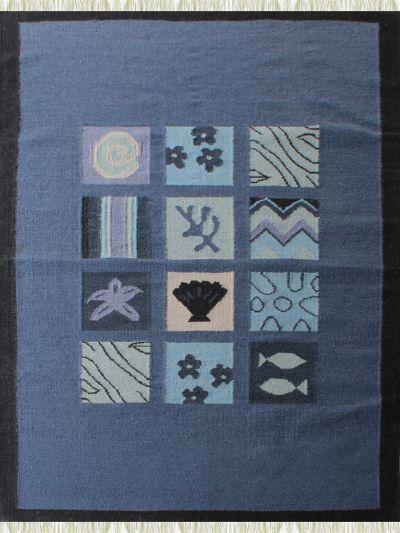 Carpetmantra Flatweave Durrie Blue Carpet 4.6ft X 6.6ft