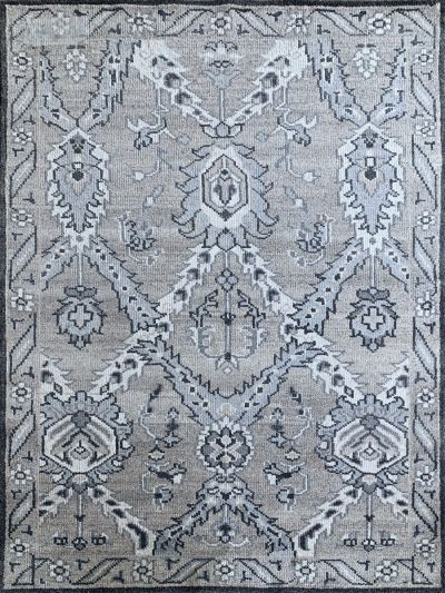 Carpetmantra Handknotted Transitional Grey Carpet 5.6ft X 7.11