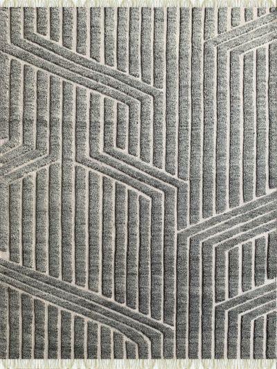 Carpetmantra Bamboo Silk Handmade Grey Carpet 5.8ft X 7.7ft