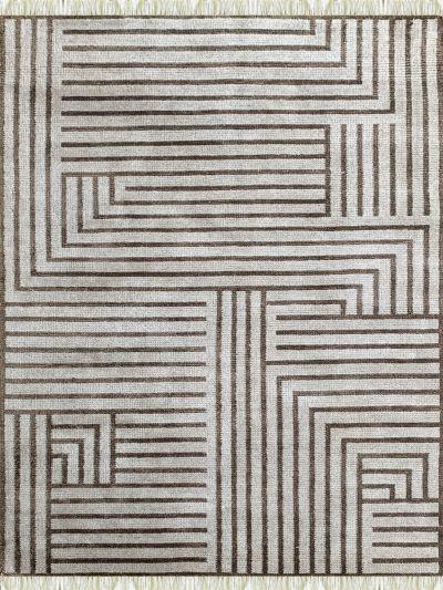 Carpetmantra Bamboo Silk Handmade Beige Carpet 5.7ft X 7.8ft
