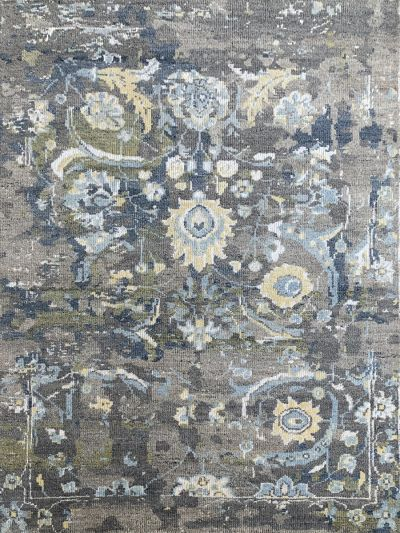 Carpetmantra Handknotted Transitional Multi Carpet 5.5ft X 7.8ft