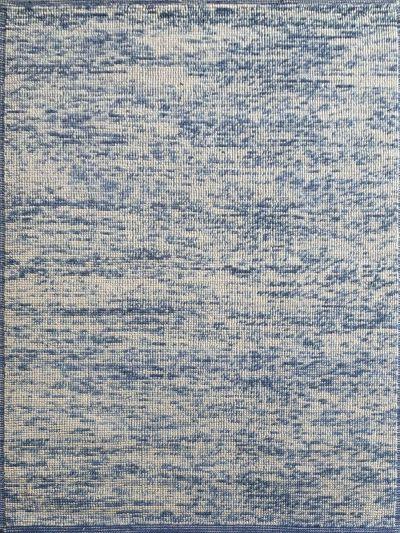 Carpetmantra Hand Woven Blue White Carpet 4.6ft X 6.6ft