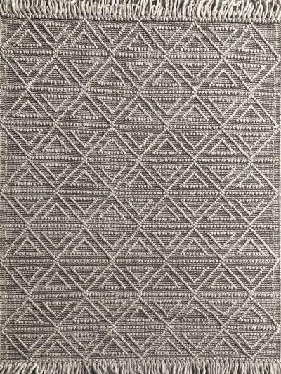 Carpetmantra Hand Woven Grey  textured Viscose  Carpet 4.6ft X 6.6ft
