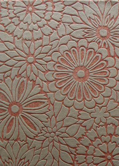 Carpet Mantra Peach Floral Carpet 4.6ft x 6.6ft