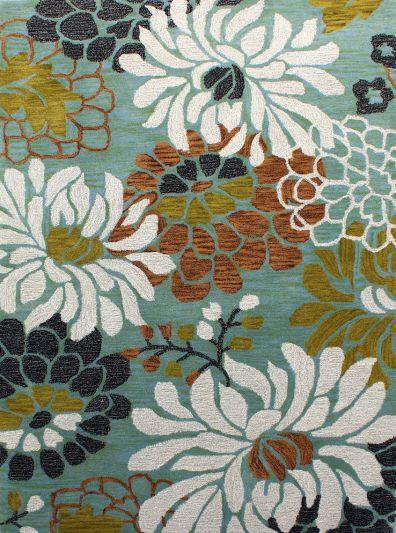 Carpet Mantra Turquoise Floral Carpet 4.6ft x 6.6ft