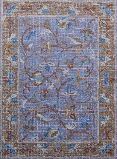 Carpet Mantra Blue Floral Carpet 5.0ft x 7.6ft