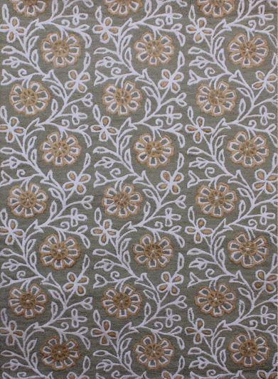 Carpet Mantra Green Floral Carpet 5.0ft x 7.6ft