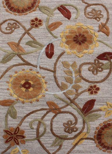 Carpetmantra Beige Floral Carpet 3.6ft X 5.6ft