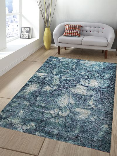 Carpetmantra Abstract Turquoise Handmade Carpet 5.9ft X 7.7ft