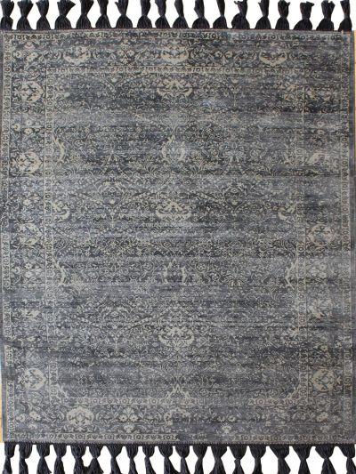 Carpetmantra Grey Floral Carpet 5.6ft X 7.8ft