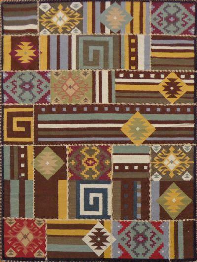 Carpetmantra flatweave patch Kilim Durrie Carpet 5.7ft x 7.10ft