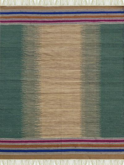 Carpetmantra Flatweave Green Durrie Carpet 5.7ft x 7.7ft