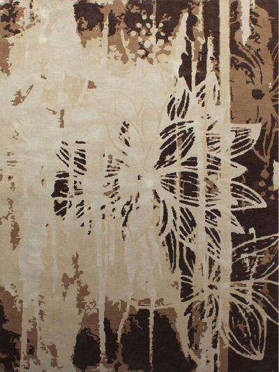 Carpetmantra Abstract  Brown Carpet 5.3ft X 7.7ft